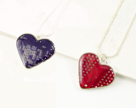 red and purple circuit board heart necklace