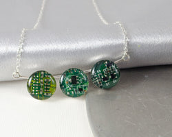 green circuit board bubble necklace