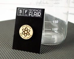 science not silence wood laser cut atom pin