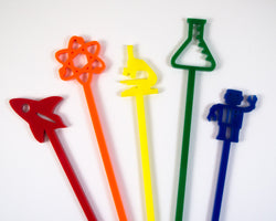 rainbow colored set of science cocktail swizzles