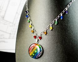 rainbow circuit board necklace with swarovski crystal rainbow fringe