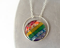 rainbow circuit board necklace with sterling silver