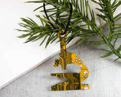 yellow circuit board microscope ornament
