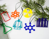 set of 7 handmade acrylic chemistry ornaments