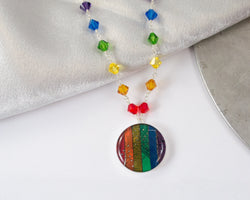 handmade necklace made from a rainbow of circuit boards