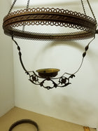 Victorian hanging lamp brass frame, harp and accessories