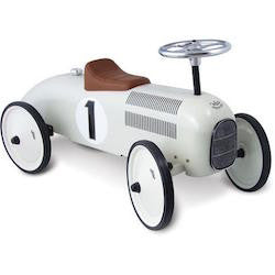 White vintage ride on metal car for kids