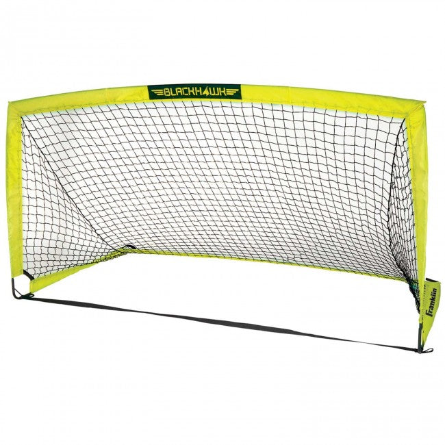 yellow and black soccer goal with net
