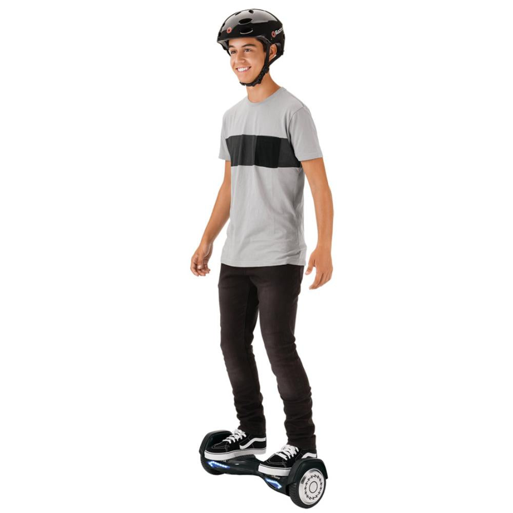 male teen on Razor Hovertrax 2.0 - Sky Night Black with helmet