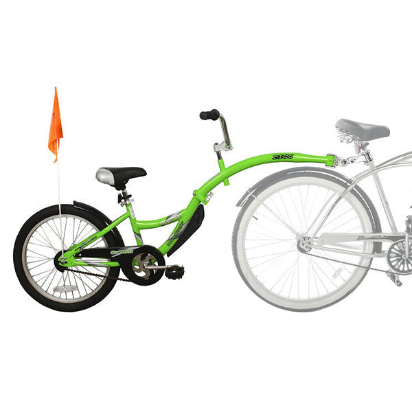 tag along bike with green frame and orange flag