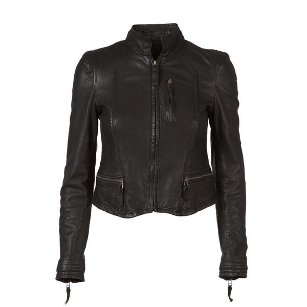 Short-line Leather Jacket Black MDK, - Stripes Fashion and Beauty