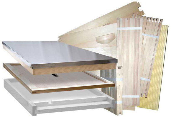 Langstroth Complete Hive Kit, Flat, With Premium Wired Wax Foundation