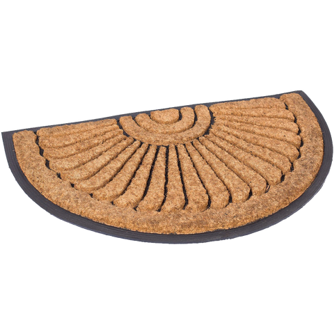 BirdRock Home Round Natural Coir and Rubber Doormat