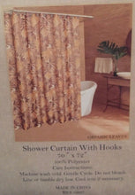 Caribbean Joe Island Supply Graphic Leaves Brown Shower Curtain and Hooks Set
