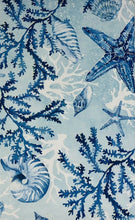 Elrene Sea Life Impressions Seashells Blue Vinyl Flannel Back Tablecloth 52 x 70 Oblong
