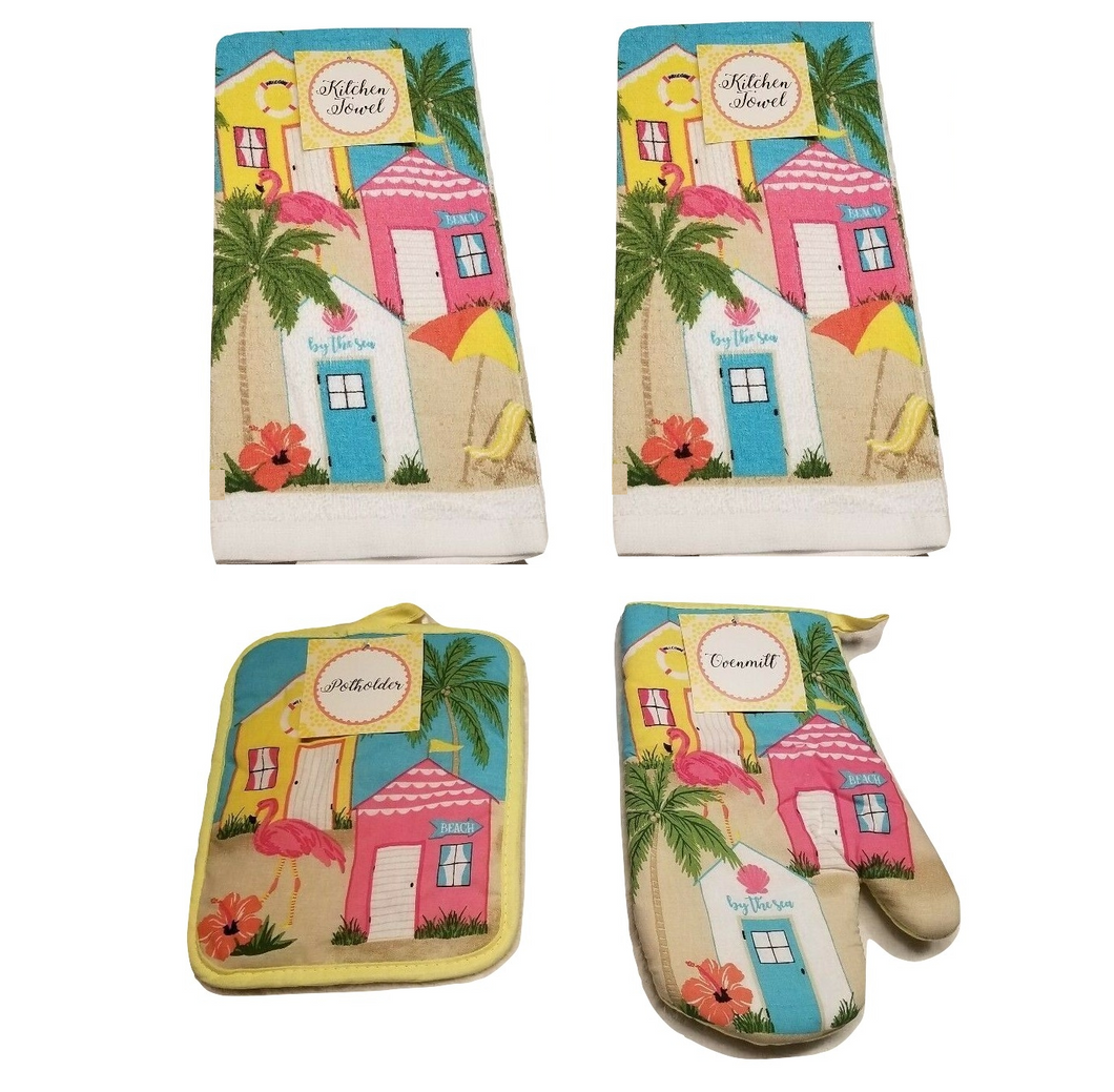 Flamingo Palm Tree Dish towels Oven Mitt Pot holder Set of 4 Beach Summer House