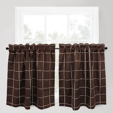 Park Smith Durham Square Woodland Solid 24 inch Tier Curtain Set Brown