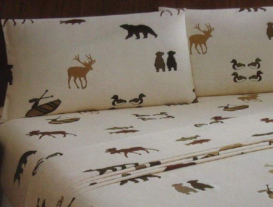 Deer Bear Canoes Ducks Queen Sheet Set Wilderness Woodland Cabin Remington
