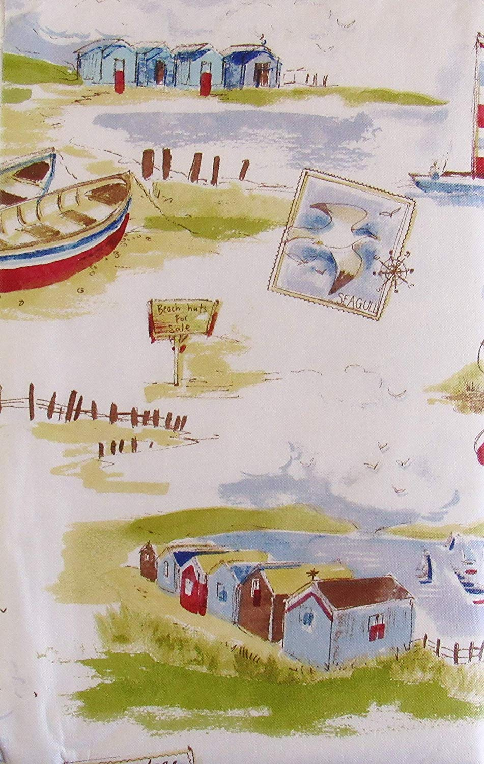 Scenic Seasides and Beach Fronts Vinyl Flannel Back Tablecloth 52 x 90 Oblong