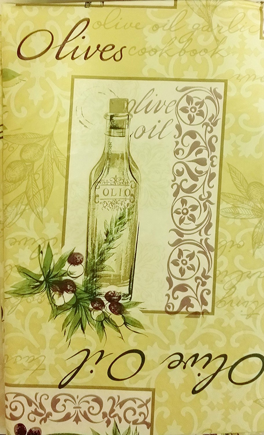 Tuscan Olive Oil and Olives vinyl flannel backed tablecloth 52 x70
