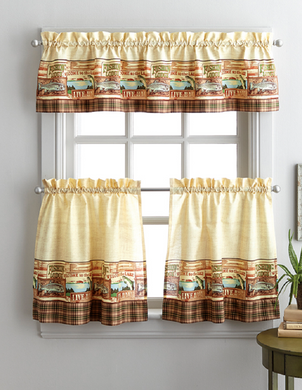 Fishing Lodge 36L Tier and Valance Kitchen Curtain Set