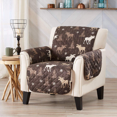 Lodge Moose Trees Cabin Reversible Furniture Protector Slipcover Armchair 75x65