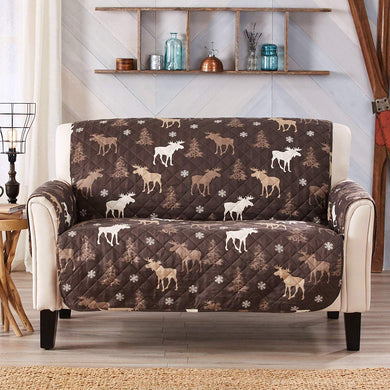 Lodge Moose Trees Cabin Reversible Furniture Protector Slipcover Loveseat 75x88