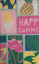 Elrene Vinyl Flannel Back Tablecloth Happy Summer Patchwork 52 inch Square