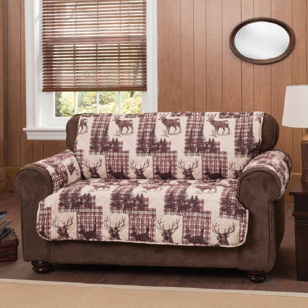 Woodlands Loveseat Furniture Protector Cover Multi Color Deer Print Lodge Cabin