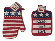 Patriotic 4 pc kitchen towels potholder oven mitt set Land That I Love Americana