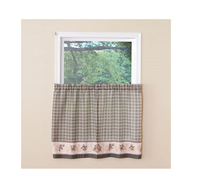 Pine Valley Border Tier Curtain Pairs Green 36 inch length Cabin Lodge