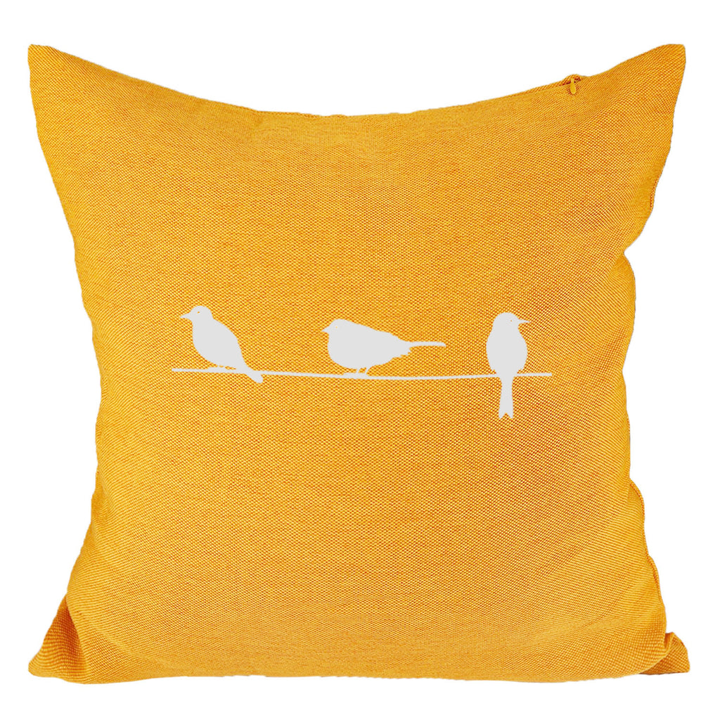 Three Birds (II) - 18x18in Throw Pillow - Trendy Colors
