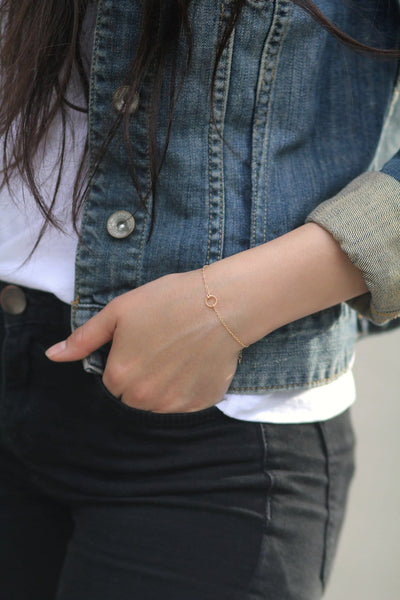 Model Wearing Harmony Bracelet in Gold MaeMae Jewelry