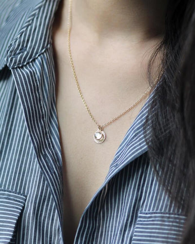 Model Wearing Gold Hammered Round Disk Charm Necklace w/ Swarovski Crystal on Affirmation
