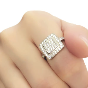 Sterling Silver Cubic Zirconia Square Cluster Ring Wholesale Lots