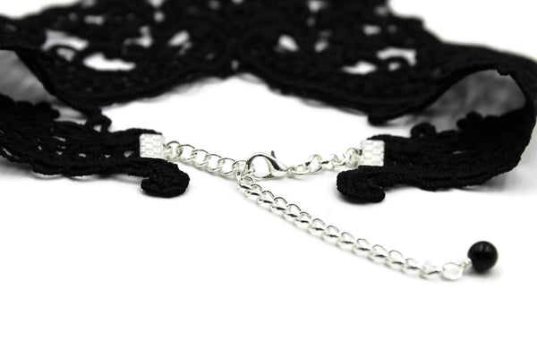 rear view of black Victorian lace collar adjustable length silver clasp adorned with black glass bead arthlin jewelry