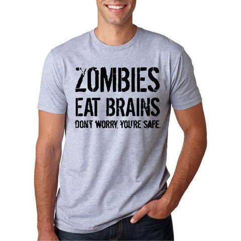 Funny Zombies Eat Brains So You'Re Safe TShirt Men's Letter Printed Short Sleeve O-Neck T-Shirts Fashion Hip Hop Streetwear Tops - Coolmart.us