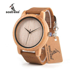 BOBO BIRD Watches Men's Bamboo Wooden Wristwatches With Genuine Cowhide Leather Band Luxury Wood Watches for Men and Women C-A19 - Coolmart.us