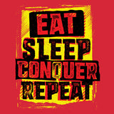 WWE Brock Lesnar Stencil Eat Sleep Official Women's T-shirt (Red) - Urban Species Ladies Short Sleeved T-Shirt