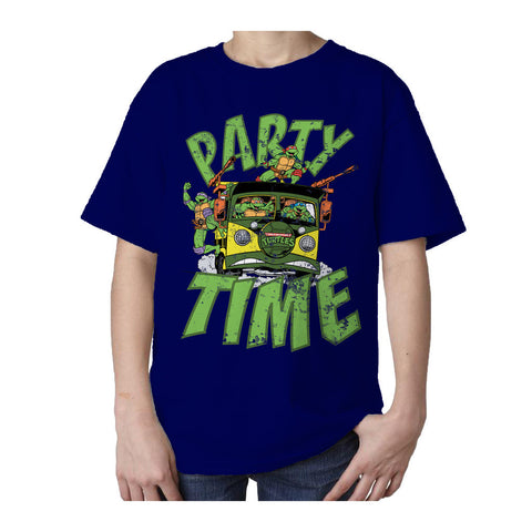 TMNT Gang Retro Party Wagon Official Kid's T-Shirt (Navy)