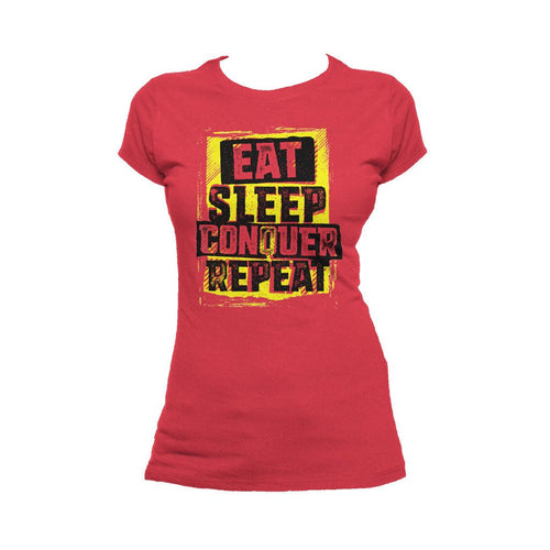 WWE Brock Lesnar Stencil Eat Sleep Official Women's T-shirt (Red)