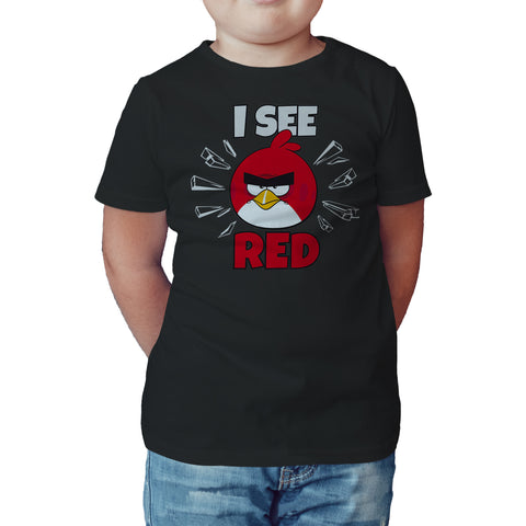 Angry Birds Red Text I See Official Kid's T-Shirt (Black) - Urban Species Kids Short Sleeved T-Shirt