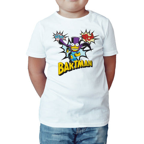 The Simpsons Bartman Kapow Official Kid's T-Shirt (White) - Urban Species Kids Short Sleeved T-Shirt