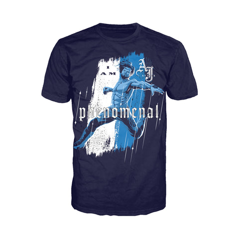 WWE AJ Styles Comic Phenomenal Official Men's T-shirt (Navy) - Urban Species Mens Short Sleeved T-Shirt