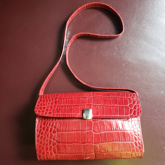 Vintage Ralph Lauren Embossed Croc Shoulder Bag