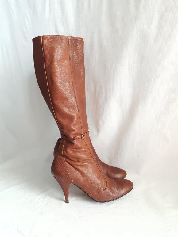 Sigerson Morrison Camel Leather Low Heel Boots Size 8.5