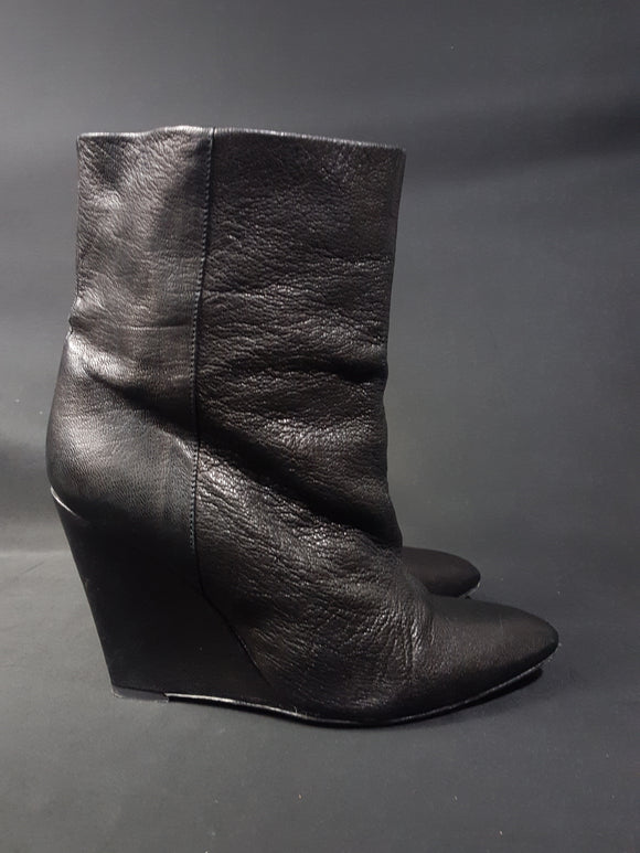 IRO Black Leather Darlon Wedge Booties Size 40