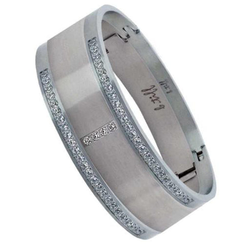 BTiff Brighter than Diamond Stainless Steel Pave 3 Bangle Bracelet Triple Stack