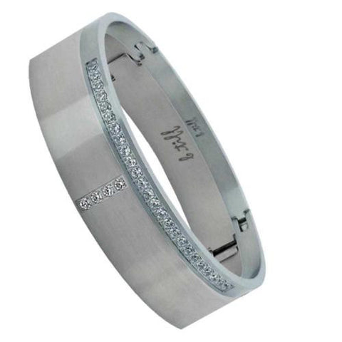BTiff Brighter than Diamond Stainless Steel Pave 2 Bangle Bracelets Double Stack