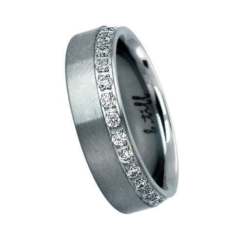 B.Tiff Signity Star Brighter than Diamond Pave Set Steel Offset Wide Eternity RIng